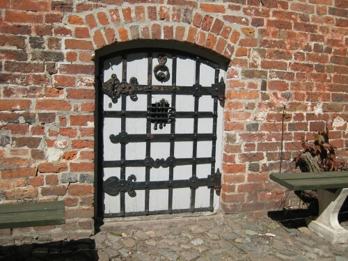 Voergaard Castle - Medieval Door in Courtyard