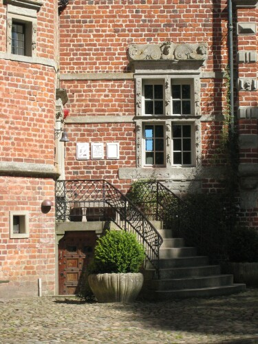 Staircase in the Courtyard at Voergaard Slot Denmark