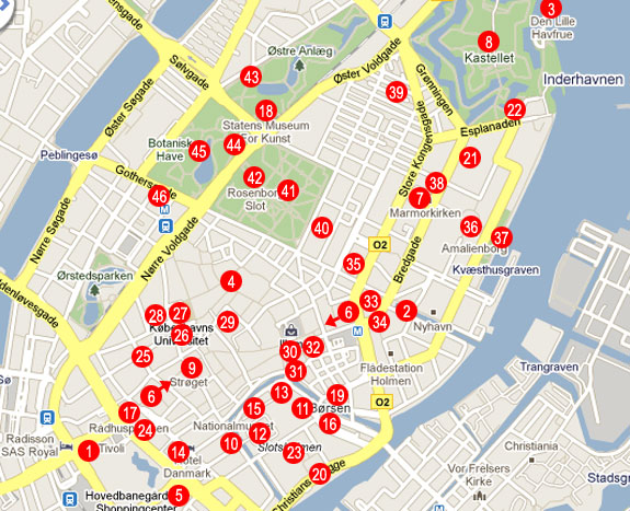 {Central Copenhagen Tourist Attractions K benhavn – Copenhagen Tourist Attractions Map